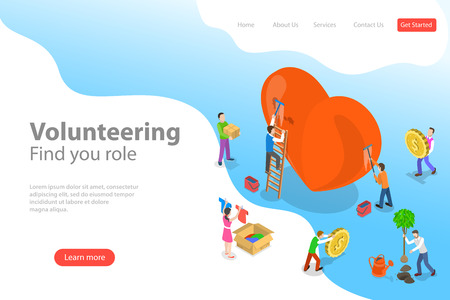Isometric flat vector landing page template of volunteering and support. Reklamní fotografie - 122131283