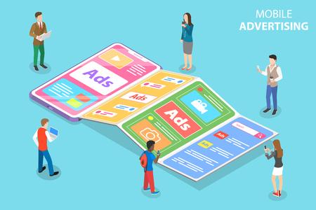 Flat isometric vector concept of mobile advertising, social media sponsored ads.