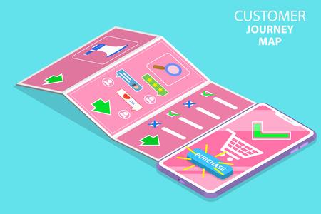 Isometrische platte vector concept van serching klantreiskaart, digitale marketingcampagne, promotie, advertentie, mobiele reclame. Vector Illustratie