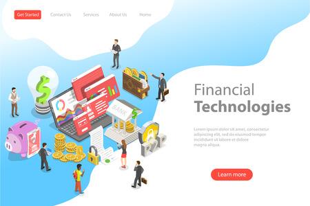 Isometrische flache Vektor-Landing-Page-Vorlage von Fintech, Finanztechnologie. Vektorgrafik