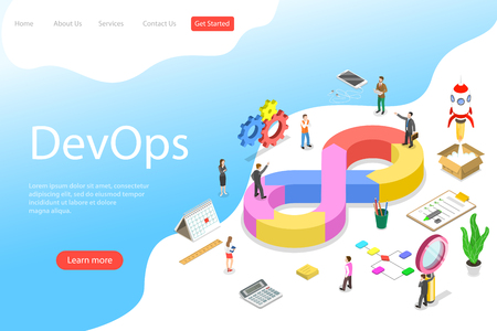 Isometric flat vector landing page template of DevOps. Stock Illustratie