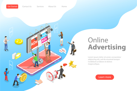 Flat isometric vector landing page template of mobile advertising. Stock Vector - 122131295