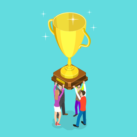 Flat isometric vector concept of winning team, effective teamwork, business leadership, successful project. Ilustrace