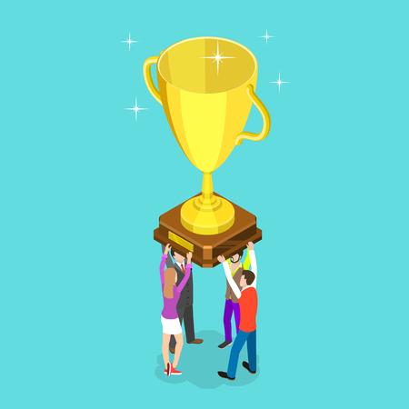 Flat isometric vector concept of winning team, effective teamwork, business leadership, successful project. Reklamní fotografie - 122635109