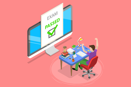 Isometric flat vector concept of passed online exam, questionnaire form, online education, survey, internet quiz.