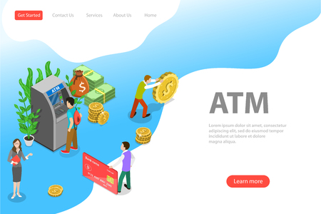 Isometric flat vector landing page template of ATM, bank card