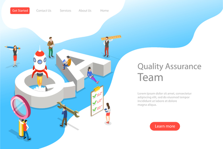 Isometric flat vector landing page template of QA, quality assurance Vectores