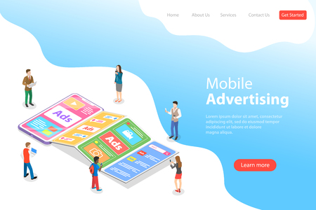 Flat isometric vector landing page template of mobile advertising