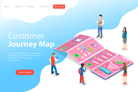 Isometric flat vector landing page template of serching customer journey map, digital marketing campaign, promotion, advertisment, mobile advertising. Illustration