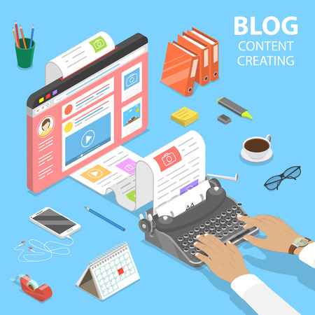 Isometric flat vector concept of creative business blogging, commercial blog posting, copywriting, content marketing strategy.