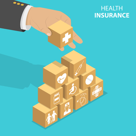 Isometric flat vector concept of health insurance, healthcare and medical service. Ilustração