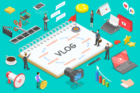 Flat isometric vector concept of video blog, vlog, creating online channel