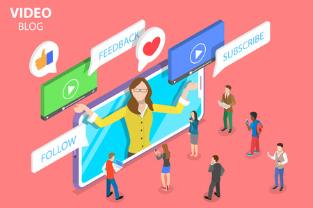 Flat isometric vector concept of vlog, video blog, online channel, creating quality content.