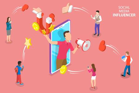 Isometrisches flaches Vektorkonzept von Social Media Influencer, digitale Marketingstrategie, Werbekampagne.