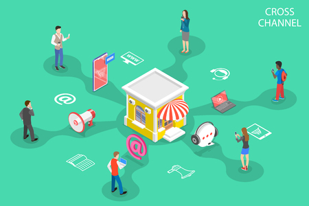 Isometric flat vector concept of cross channel, omnichannel Illusztráció