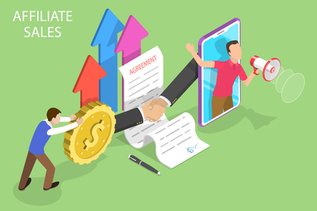 Isometric flat vector concept of affiliate sales, marketing strategy, referral program, partnership agreement. Illusztráció