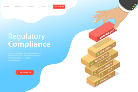 Isometric flat vector landing page template of regulatory compliance