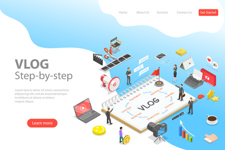 Flat isometric vector landing page template of video blog ste-by-step, vlog