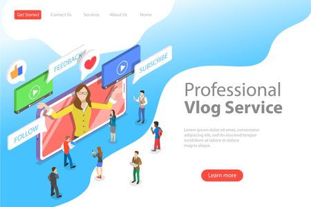 Flat isometric vector landing page template of vlog, video blog, online channel Illustration