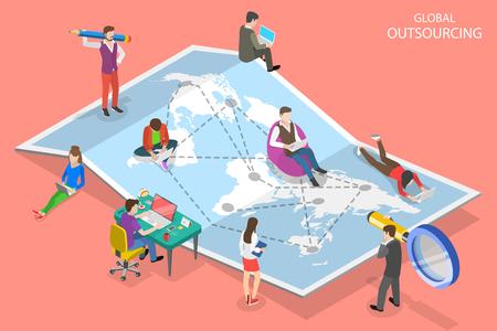 Concepto de vector plano isométrico de subcontratación global, gestión remota de la empresa, equipo distribuido, trabajo independiente. Ilustración de vector