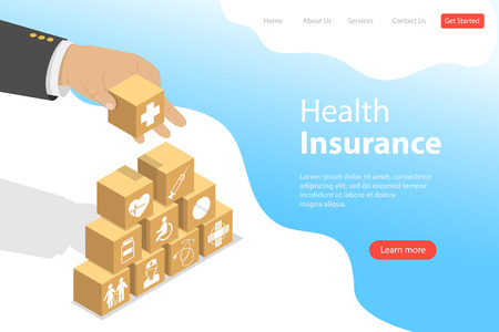 Isometric flat vector landing pate template of health insurance, healthcare Ilustracja