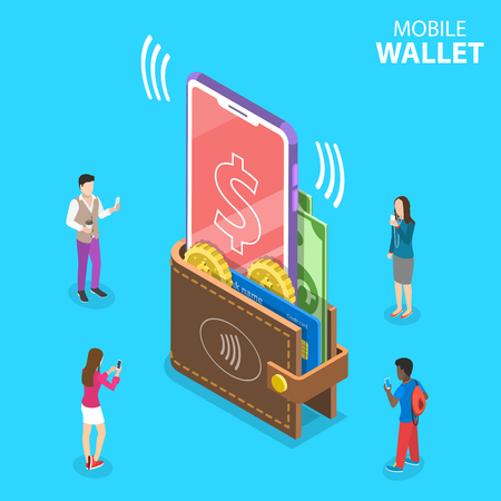 Isometric flat vector concept of digital mobile wallet, online banking, wireless money transfer.