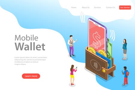 Izometryczny szablon strony docelowej płaski wektor cyfrowego portfela mobilnego, bankowości internetowej, bezprzewodowego przelewu pieniędzy.