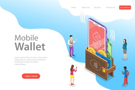 Isometric flat vector landing page template of digital mobile wallet, online banking, wireless money transfer.