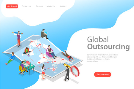 Isometric flat vector landing page template of global outsourcing