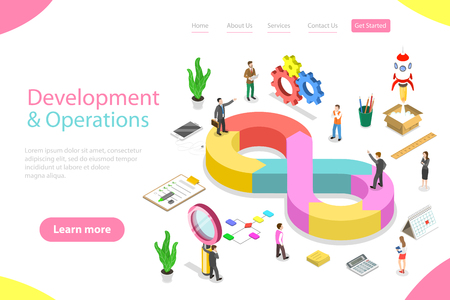 Isometric flat vector landing page template of DevOps