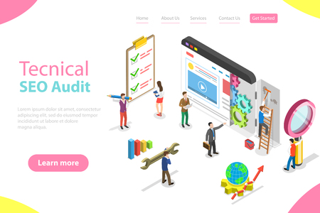Isometric flat vector landing page template of technical SEO audit