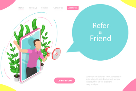 Isometric flat vector landing page template of refer a friend illustration Stockfoto - 127670829