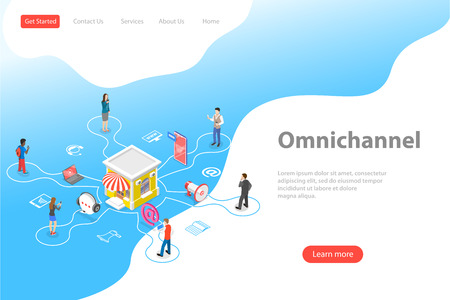 Isometric flat vector landing page template of cross channel, omnichannel.