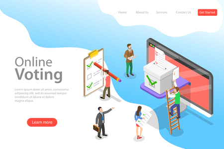 Isometric flat vector landing page template of online voting and election.
