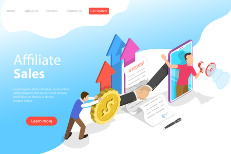 Isometric flat vector landing page template of affiliate sales, marketing strategy, referral program, partnership agreement. Illusztráció