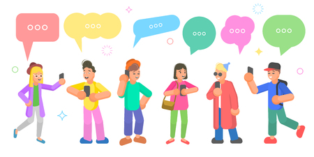Isometric flat vector concept of chatting people, social network discussion, speech bubble communication.