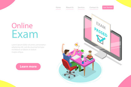 Isometric flat vector landing page template of passed online exam, questionnaire form, online education, survey, internet quiz.