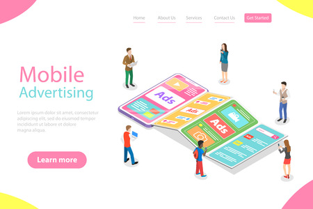Flat isometric vector landing page template of mobile advertising.