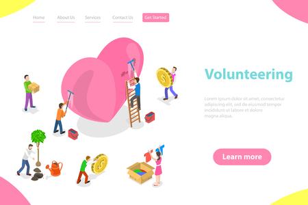 Isometric flat vector landing page template of volunteering and support.