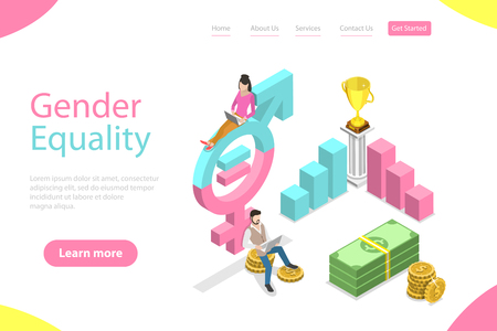Isometric flat vector landing page template of gender equality.
