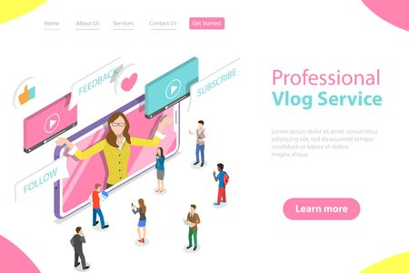 Flat isometric vector landing page template of vlog, video blog, online channel, creating quality content. Illustration