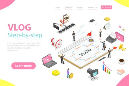 Flat isometric vector landing page template of video blog ste-by-step, vlog. Illustration