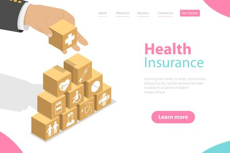 Isometric flat vector landing pate template of health insurance, healthcare and medical service.