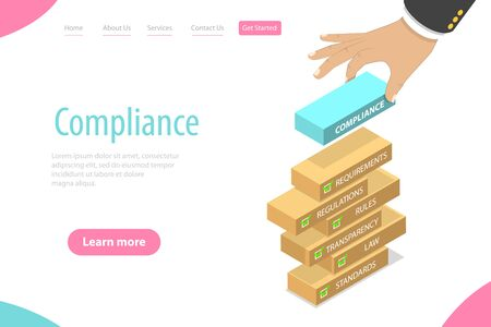 Isometric flat vector landing page template of regulatory compliance.
