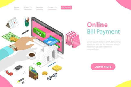 Flat isometric vector landing page template of bill payment, shopping, online banking, accounting, bank transaction. Ilustração