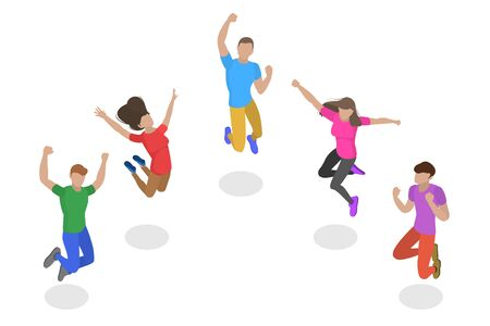 Isometric flat vector concept of jumping happy people, team success, winner company. Ilustração