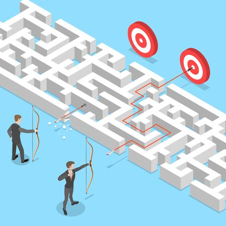 Isometric flat vector concept of business advantage, finding solution, marketing achievement and strategy. Ilustracja