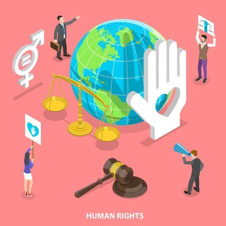 Concepto de vector plano isométrico de derechos civiles y humanos, movimiento de voluntarios. Ilustración de vector