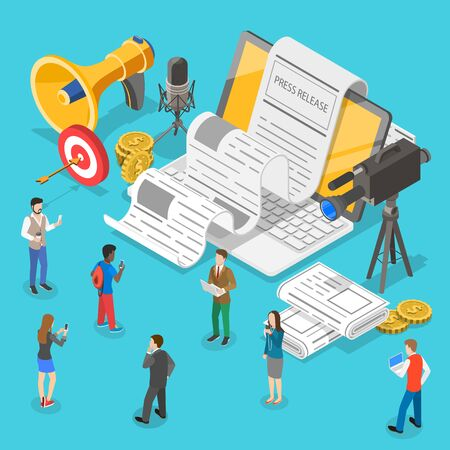 Isometrisches flaches Vektorkonzept der Internet-Pressemitteilung, Nachrichtenartikelservice, digitale Marketingkampagne. Vektorgrafik