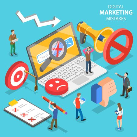 Isometric flat vector concept of digital marketing mistakes, wrong strategy. Illustration